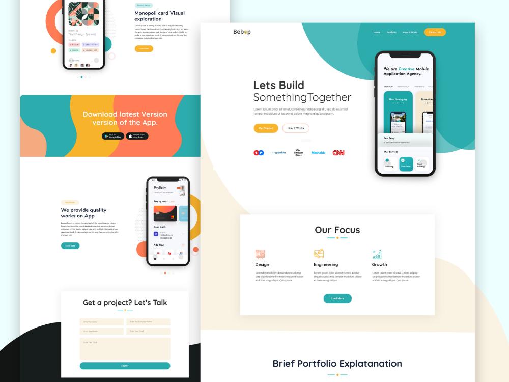 Mobile App Landing Page On Behance Web App Design App Landing Page Business Website Design Templates
