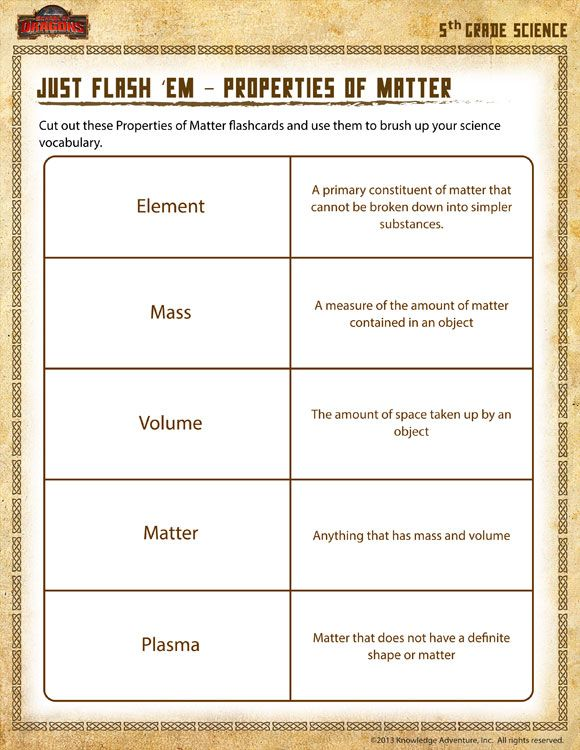 Just Flash em Properties of Matter View Printable Science – Science 5th Grade Worksheets