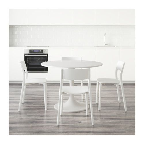 DOCKSTA JANINGE Table and 4 chairs white, white | White
