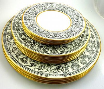 Black White Wedgwood Florentine China Dinnerware W4312 Gold Rim