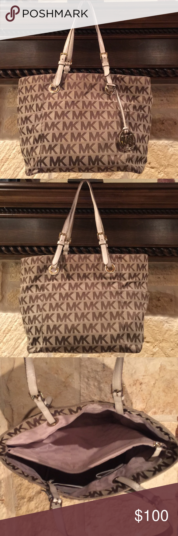 fb8aa789856a ... closeout michael kors brown bag light brown with dark brown mk letters  off white strap.