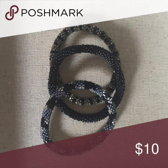 Lily & Laura Bracelets - Set of 3 Beaded roll on bracelets handmade in Nepal Jewelry Bracelets