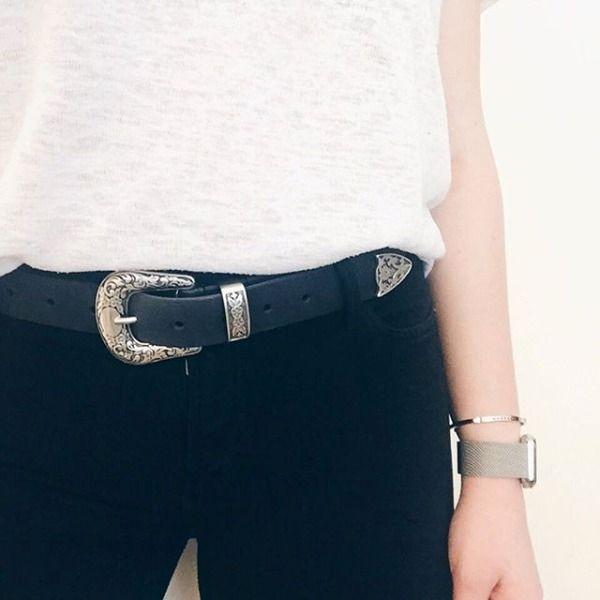 Pretty Skirt Pin Dress Metal Fashion Trendy Leather Belt Metal Pin Buckle