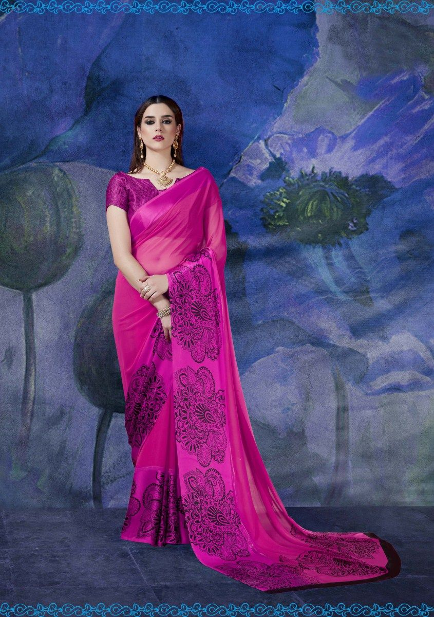 Saree Crafted With Multi Color Print Design With Satin Border And