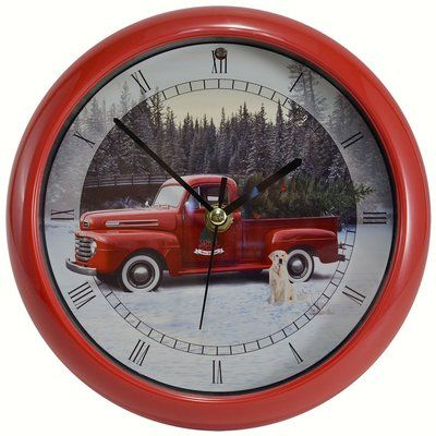 "Mark Feldstein Rustic Cardinals 8 /"" Sound Clock  Winter Season Musical Clock"