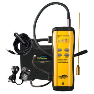 The Fieldpiece SRL8 Refrigerant Leak Detector features State-of-the-Art Heated Diode Sensor; Sensitivity better than 0.1 oz/yr; 15-hour rechargeable lithium ion battery with wall and vehicle chargers; CFC, HFC, HCFC, and blends manual or automatic zeroing. Learn more and Get the Low Prices on Valuetesters.