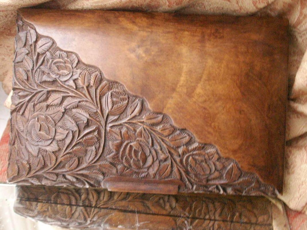 Old Vintage Carved Wooden Floral Cigarette trinket box Orienal Design Fine | eBay