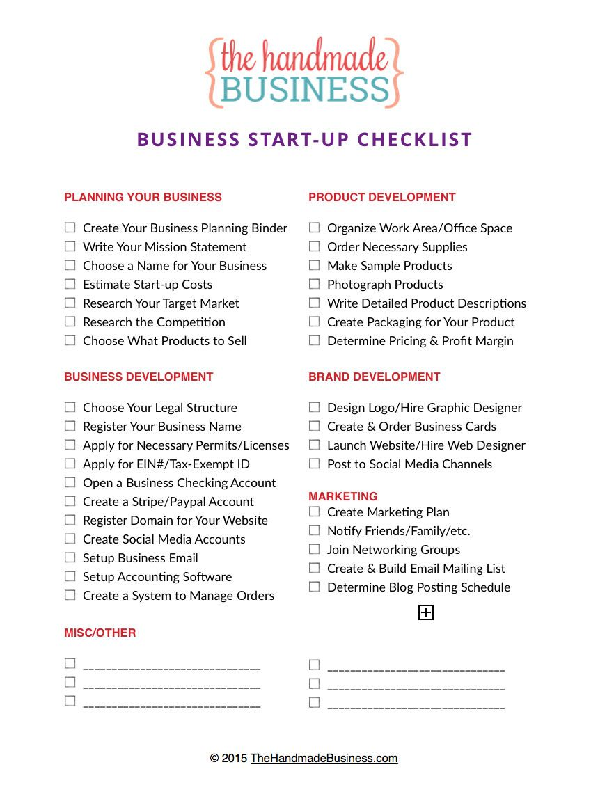Free Printable Business Startup Checklist for Launching ...