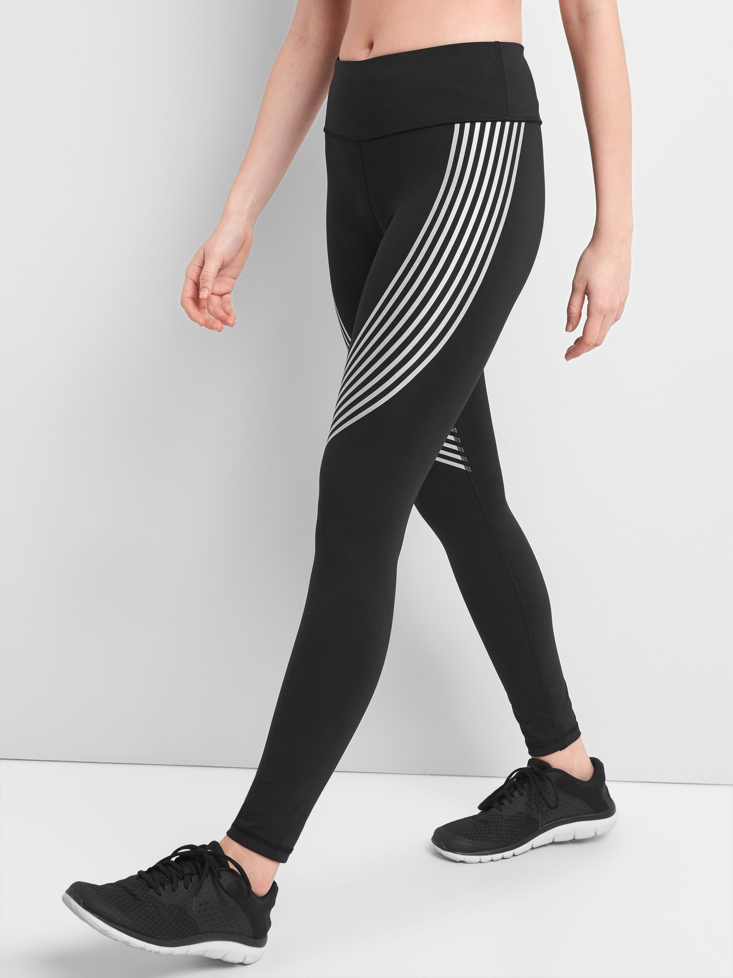1d2a9bccd9367 GapFit gFast Blackout Capri Leggings in Stripe Print|gap | running ...