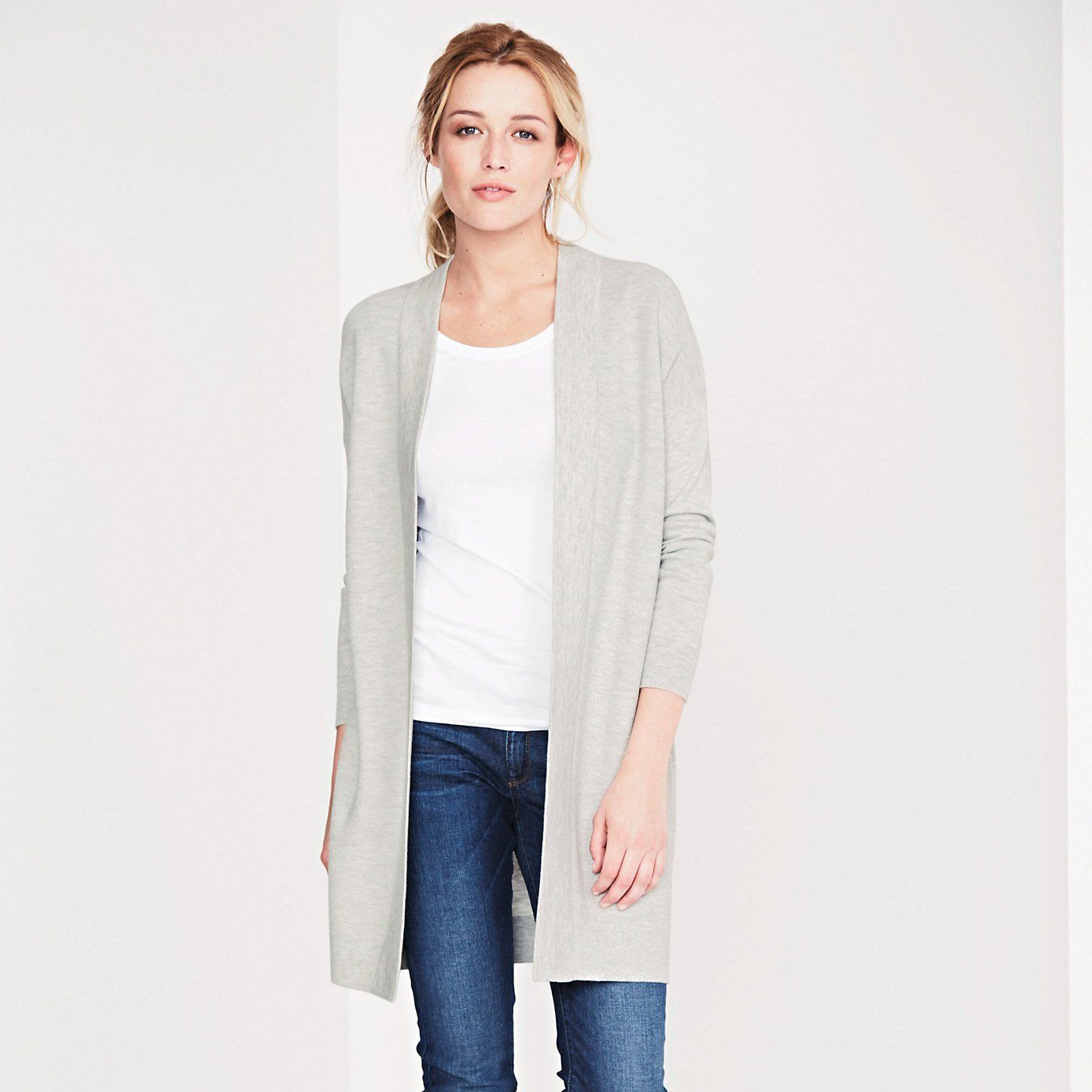Long Stitch Cardigan - Silver Grey Marl | The White Company ...