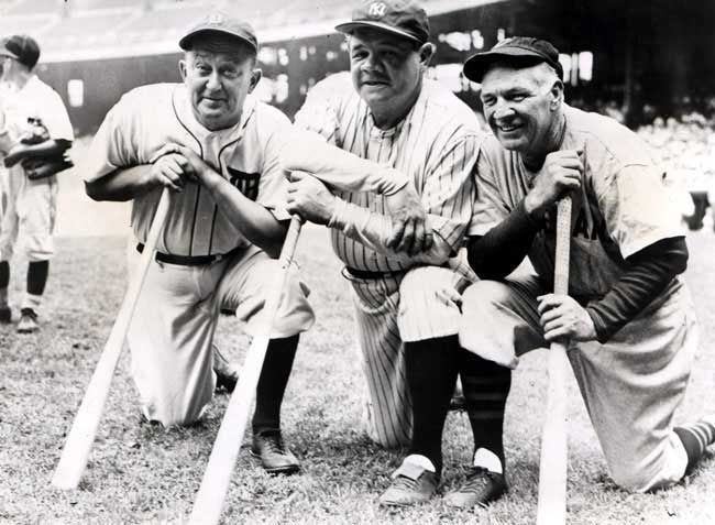 Ty Cobb, Babe Ruth and Tris Speaker - three of the best baseball players of all time.