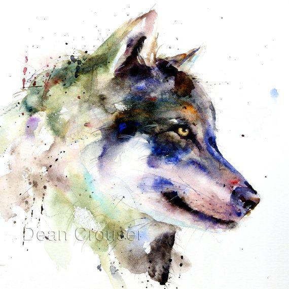 Wolf aquarell druck wolf malerei kunst durch dean crouser for Pinterest aquarell