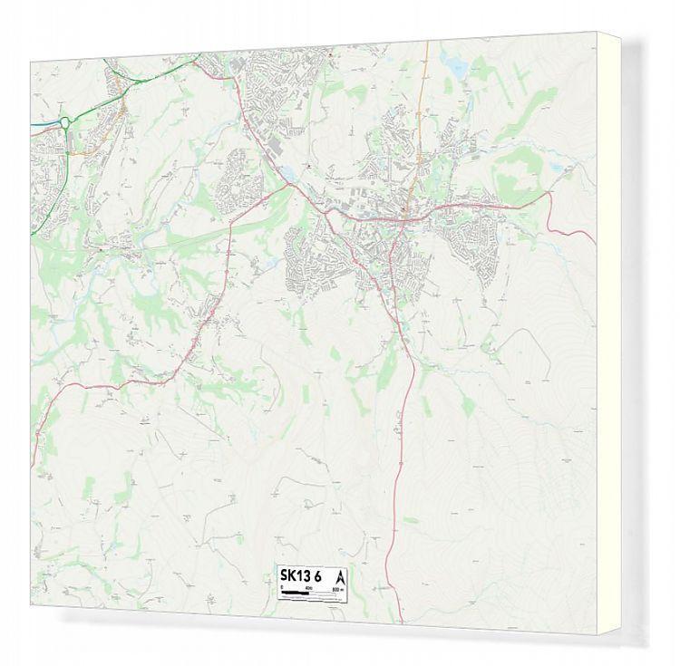 Canvas Print High Peak SK13 6 Map