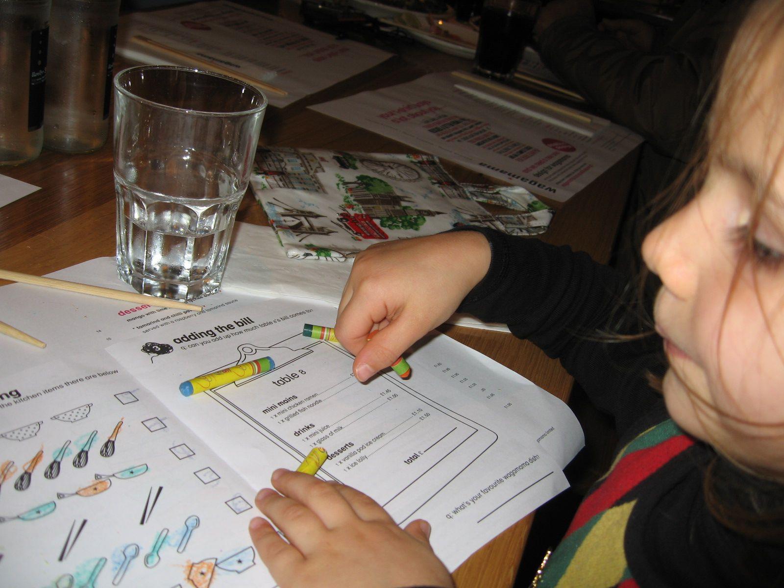 Childrens' menus at Wagamama