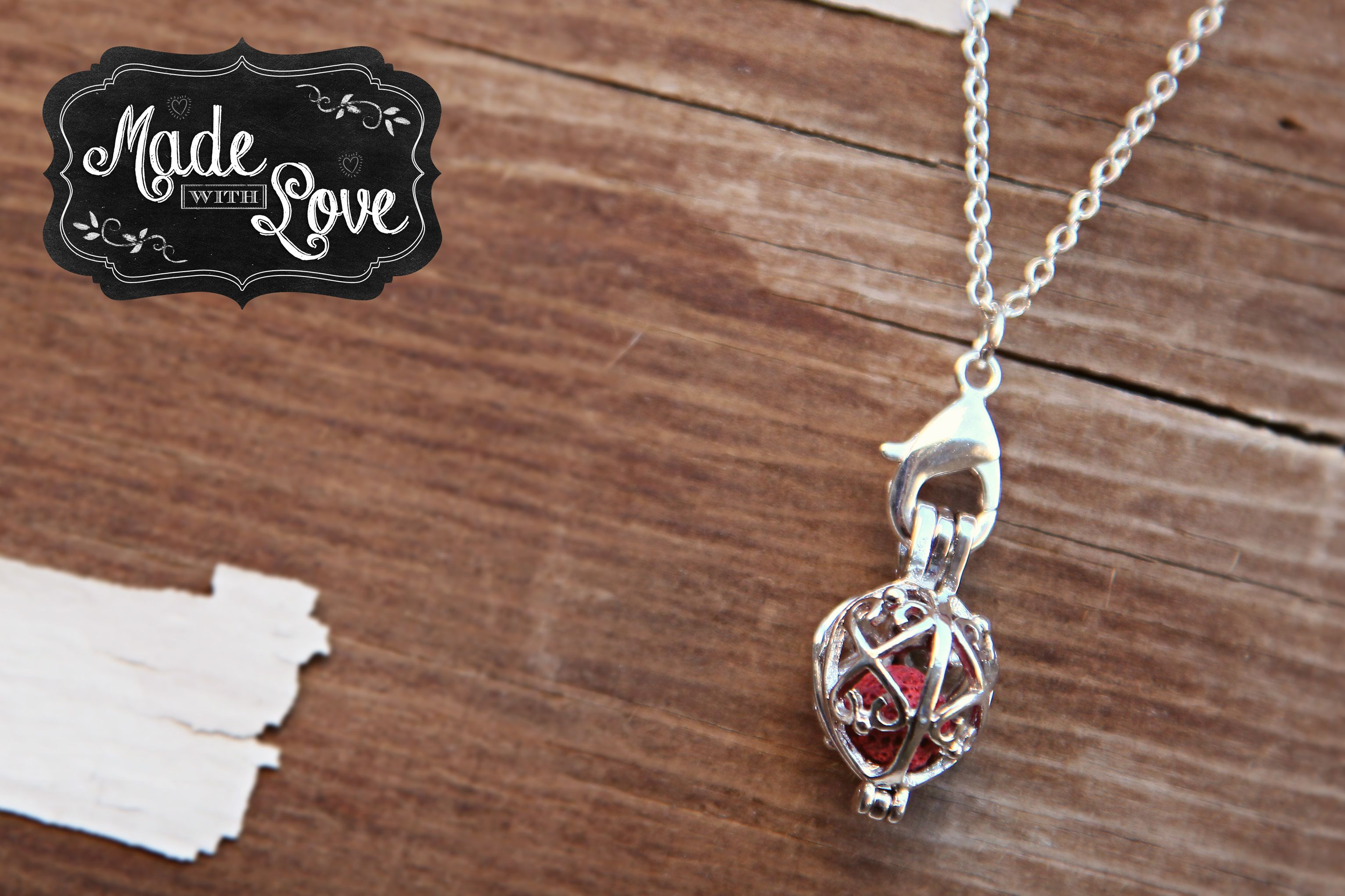 """FAITH.  Essential Oils diffusing necklace.  Silver with pink lava diffusing stone.  Made by Made with Love...Accessorizing Essential Oils!!  Available for purchase in my Facebook """"SHOP"""".  Like my page to see what else I have available for purchase!!"""