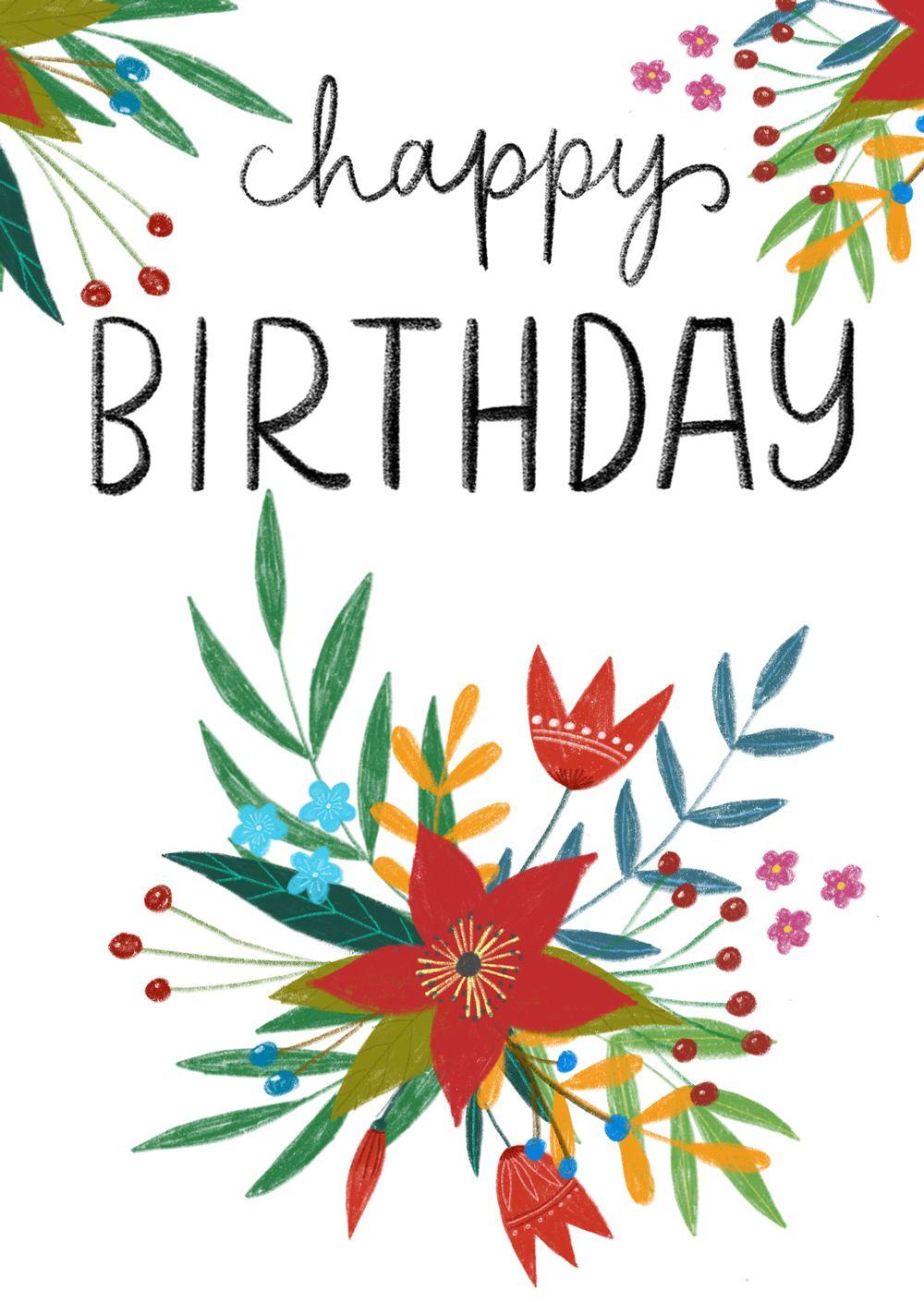 Folk art greeting cards happy birtday pinterest birthday