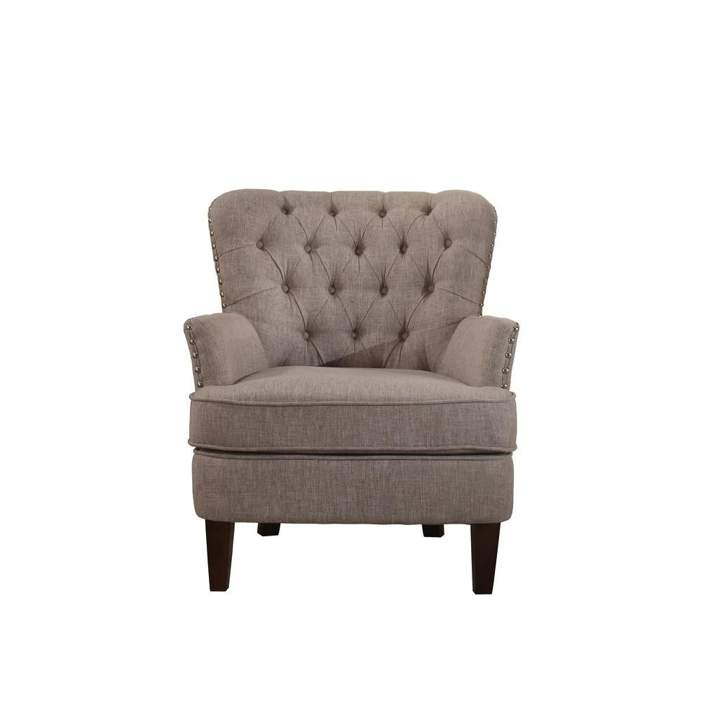 Tremendous Button Tufted Taupe Accent Chair With Nailhead 92005 16Tp Dailytribune Chair Design For Home Dailytribuneorg