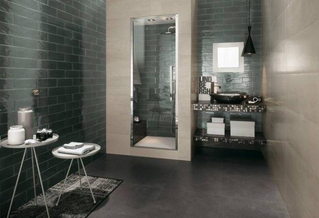 Modernes Bad Fliesen Fap Ceramiche Dunkelgraue Glänzende Mosaik