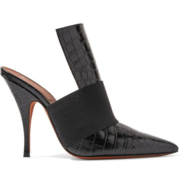 Givenchy Elastic-trimmed croc-effect leather mules (€1.030) ❤ liked on Polyvore featuring shoes, heels, pumps, black, mule shoes, black leather mules, givenchy shoes, high heel mules and slip on shoes