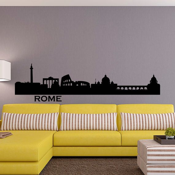 Rome Skyline Wall Decal City Silhouette Cityscape Italy Rome Wall Decals Vinyl Stickers Living Room Offic World Map Wall Decor City Silhouette Bedroom Wall Art