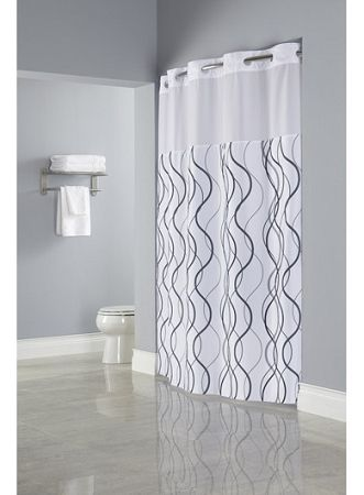 HooklessR WAVES SHEER Polyester Shower Curtain With Window 71x77 White Grey Black Low As 2950 Each