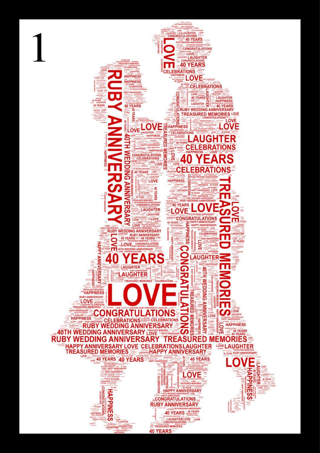 Ruby Wedding Anniversary Gifts Uk: Couple Holding Hands. FREE UK P&P. 40th