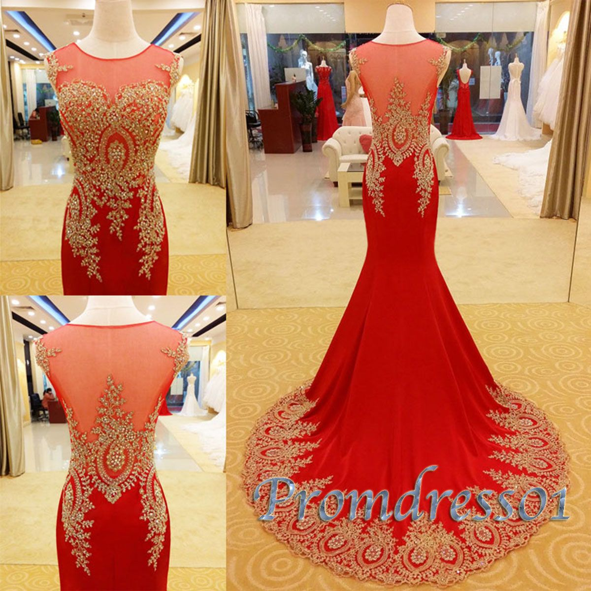 gorgeous golden lace red chiffon sweep train long prom dress