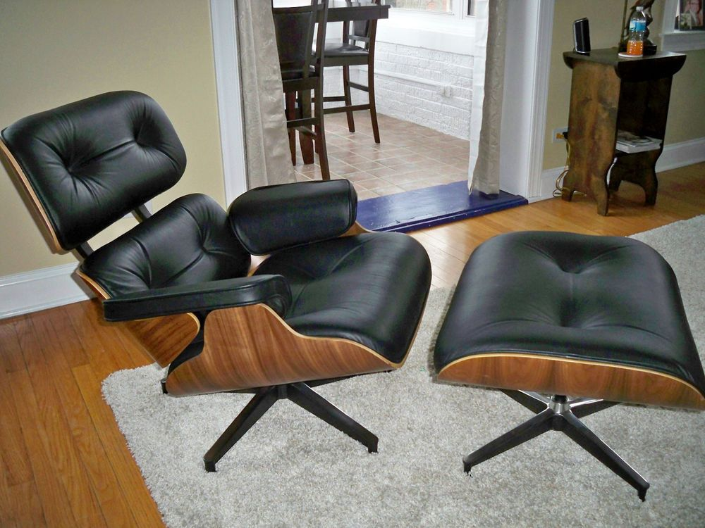 Mid century design eames style leather lounge chair with