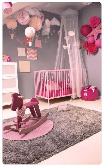 Décoration Intérieure / Chambre Enfant Bébé Nursery / Berceau Lit /  Baldaquin Ciel De Lit / Rose Gris / Fille / Simple Princesse