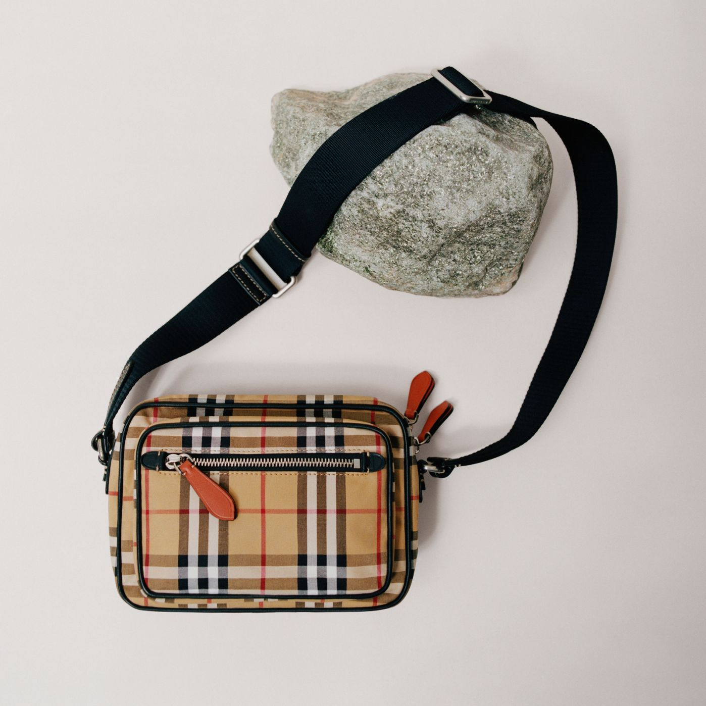 fe5e342880c6 Vintage Check and Leather Crossbody Bag in Clementine - Men