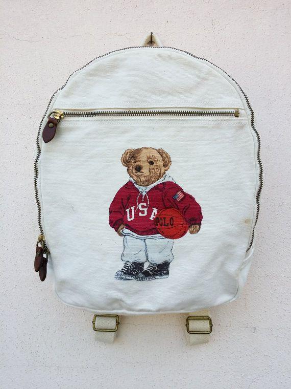 f2b52c624b89 Vintage POLO Ralph Lauren Bear Play Basketball Backpack