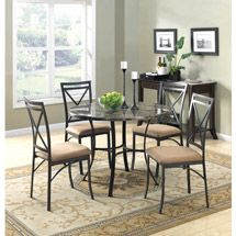 walmart mainstays 5 piece faux marble top dining set 4 the home rh pinterest com