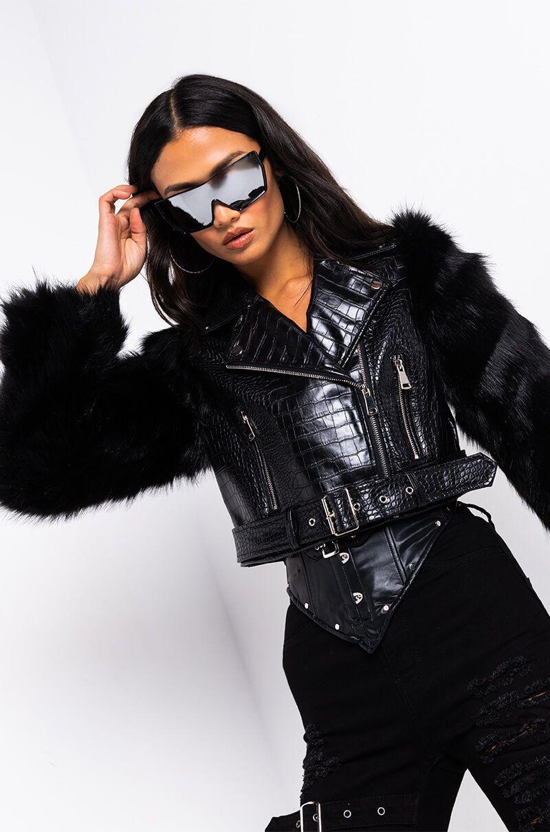 Azalea Wang Nola Faux Fur Sleeve Croc Body Moto Jacket Moto Jacket White Skinny Jeans Jackets [ 1209 x 800 Pixel ]