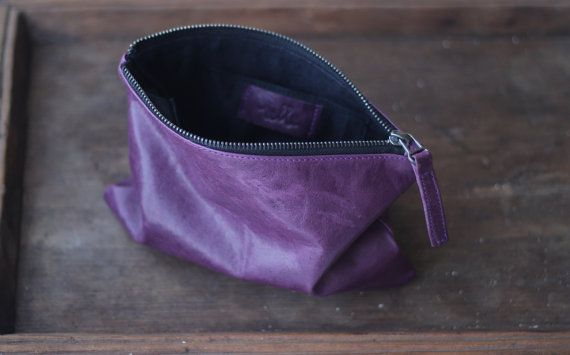 Oil Tanned Leather Pouch in Royal Purple by VellePurse on Etsy