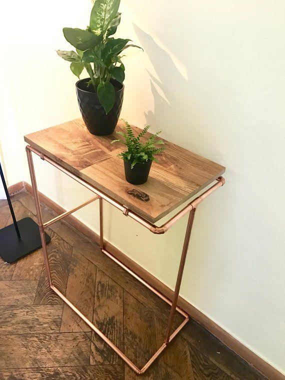 Jack I Sidetable Nightstand Copperpipe Copper Wood Table Oak Shelf Industrial Diy Mit Bildern Nachttisch Regal Nachttisch Holz Holztisch