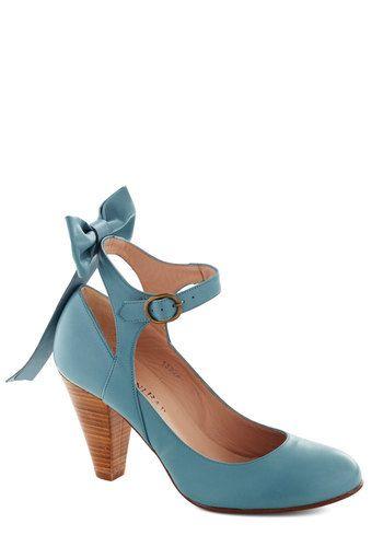 Bow My Darling Heel - Blue, Solid, Bows, Wedding, International Designer, Mid, Leather, Bride