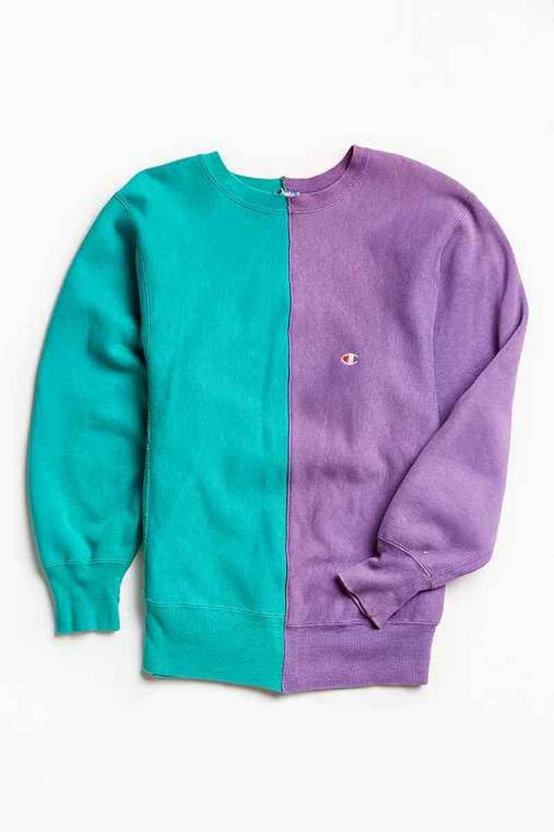 Vintage Champion Green/Lavender Split-Seam Crew Neck Sweatshirt ...