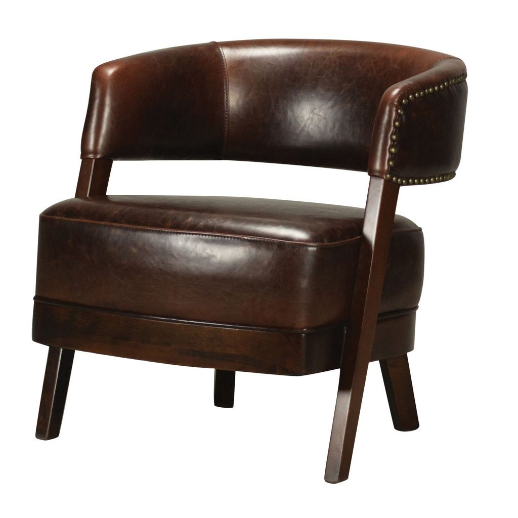 This Handsome Bethany Hill Leather U0026 Walnut Open Back Barrel Chair By  Sterling Features A High