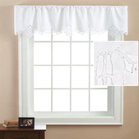 Mainstays Battenburg White Lace Window Valance Image 3 Of 3 Light Colors Kitchen Curtains And Valances Valance