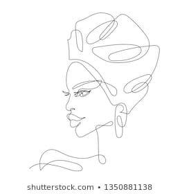 Line Drawing of the Face: images, photos et images vectorielles de stock
