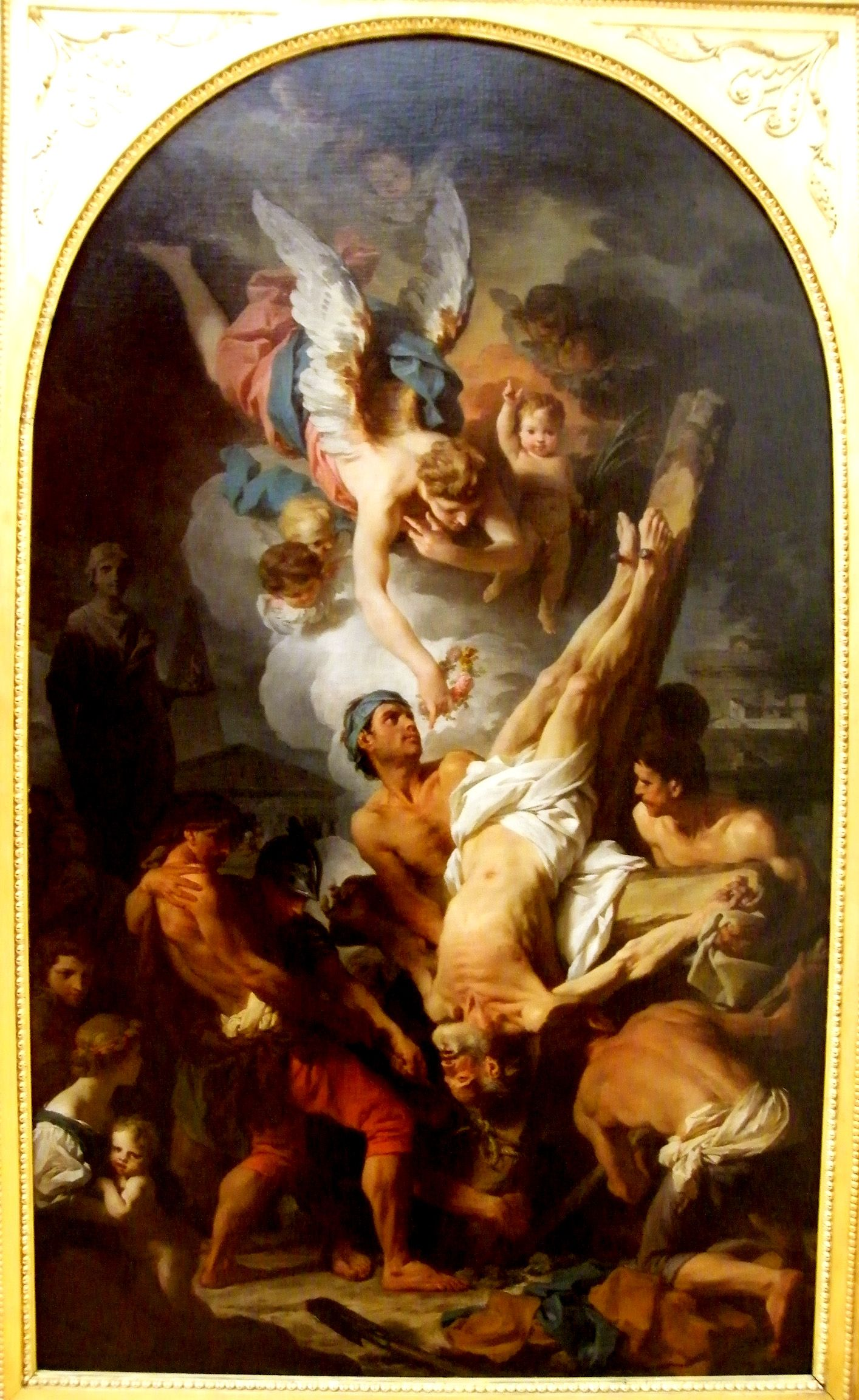Kds Photo Leipzig Bildenen Kunste Museum Painting By Pierre Subleyras The Crucifixion Of Saint Peter Early 1700s In 2020 Painting Baroque Art Angel Art