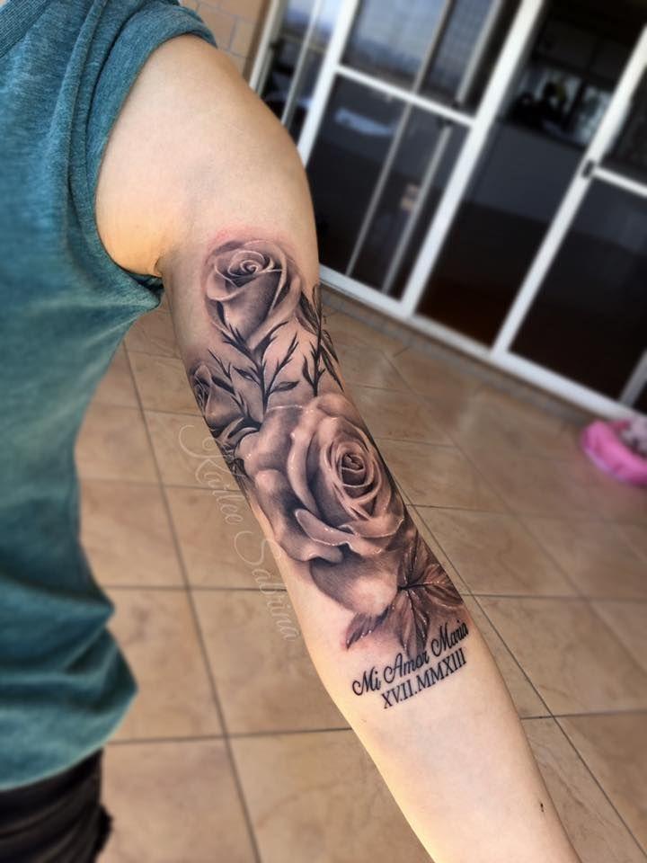 Girly Half Sleeve Tattoo Ideas: Grey Ink Feminine Roses Tattoo On Left Half Sleeve By