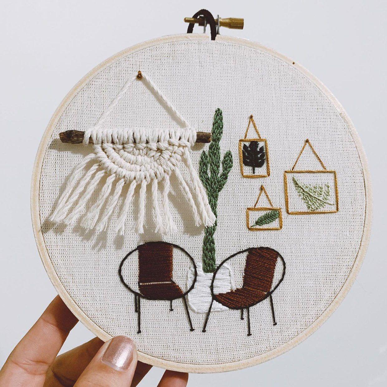 Cactus and Mini Macrame Hand Embroidered Hoop Wall Hanging Wall Decor Home Decor Handmade Gift Boho Decor