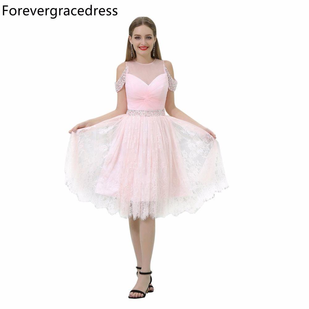 Forevergracedress pink short prom dress illusion neck beaded lace