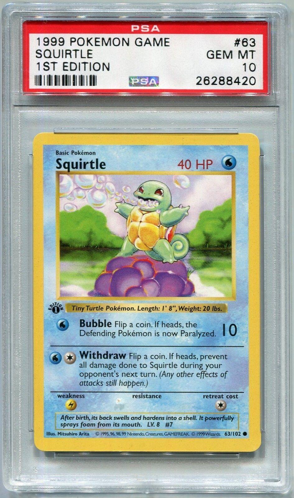 Pokemon Card 1st Edition Shadowless Squirtle Base Set 63 102 Psa 10 Gem Mint Pokemon Psa10 Pokemon Cards Pokemon Squirtle