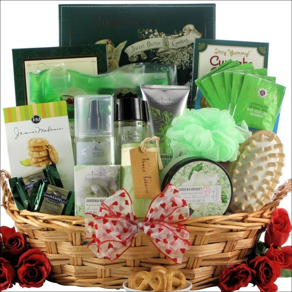 Spa Gift Basket With Bath Body Gardenia Theme Romantic Gifts