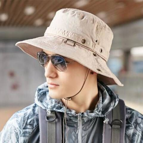 ba69c132419 Mens UV Plain fishing hat for sun protection foldable outdoor bucket hats  with string