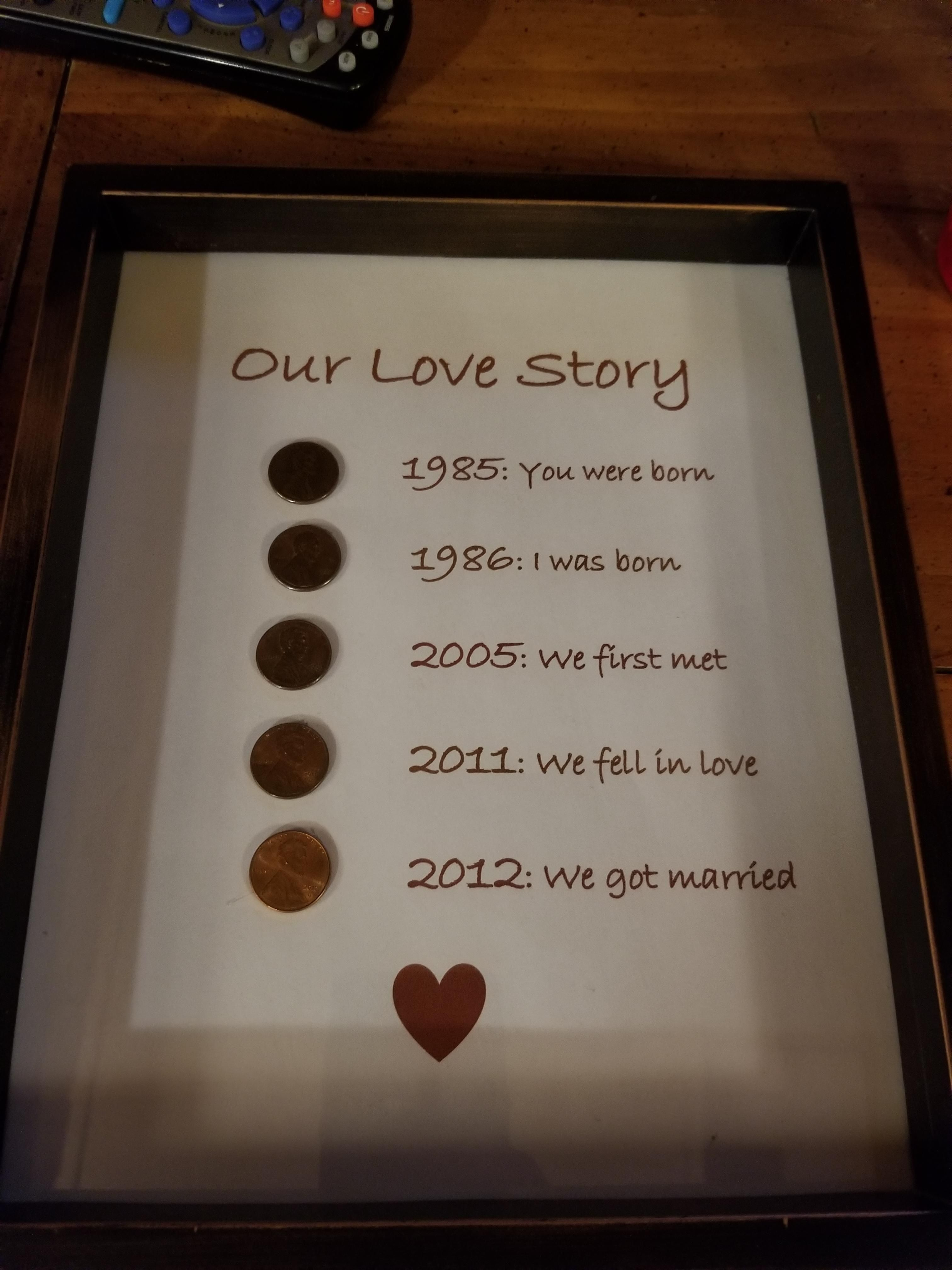 My wife made me this for our anniversary coins we get