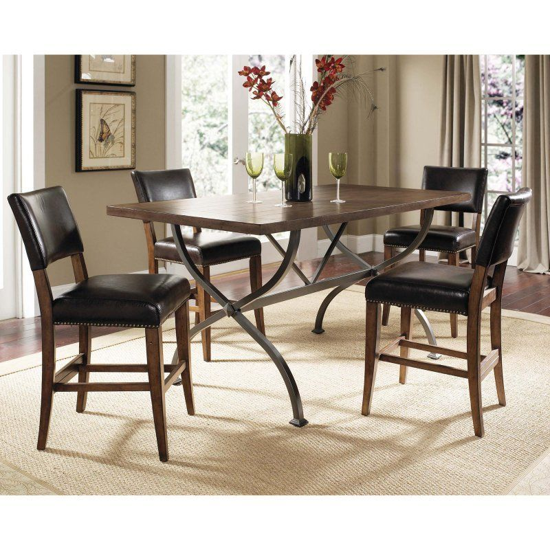849e369b1d3 Hillsdale Cameron 5 Piece Counter Height Rectangle Wood Dining Table Set  with Parson Chairs - HL3225