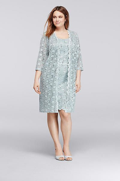 Allover Sequin Lace Plus Size Short Jacket Dress 9530WP | PickED Me ...